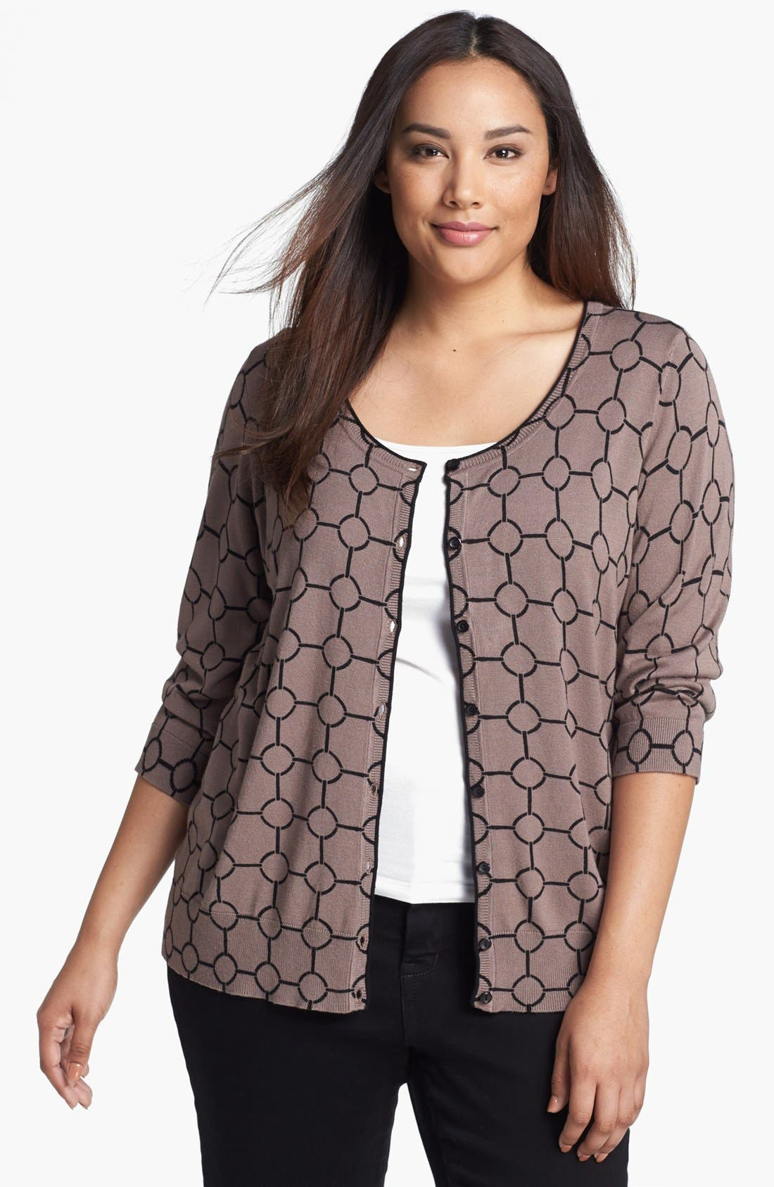 Alternate Image 1 Selected - Sejour Print Cardigan (Plus Size)