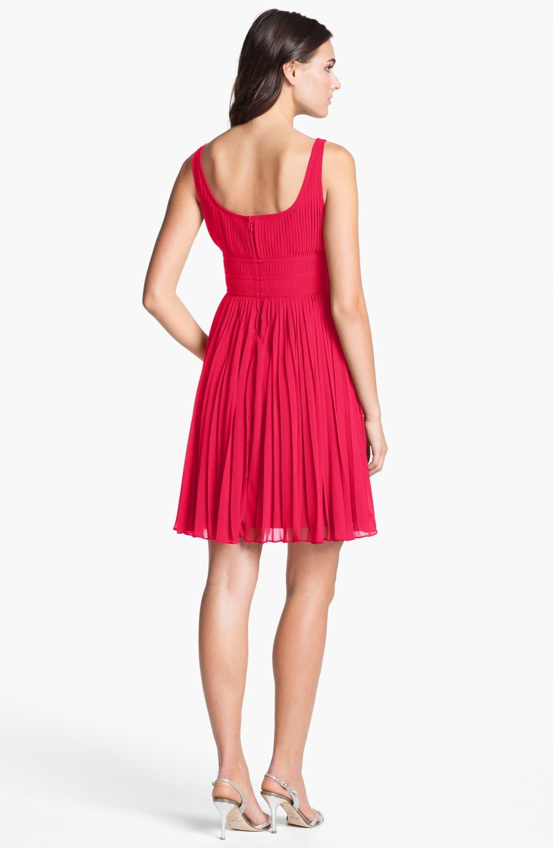 Alternate Image 2  - Adrianna Papell Pleated Chiffon Fit & Flare Dress