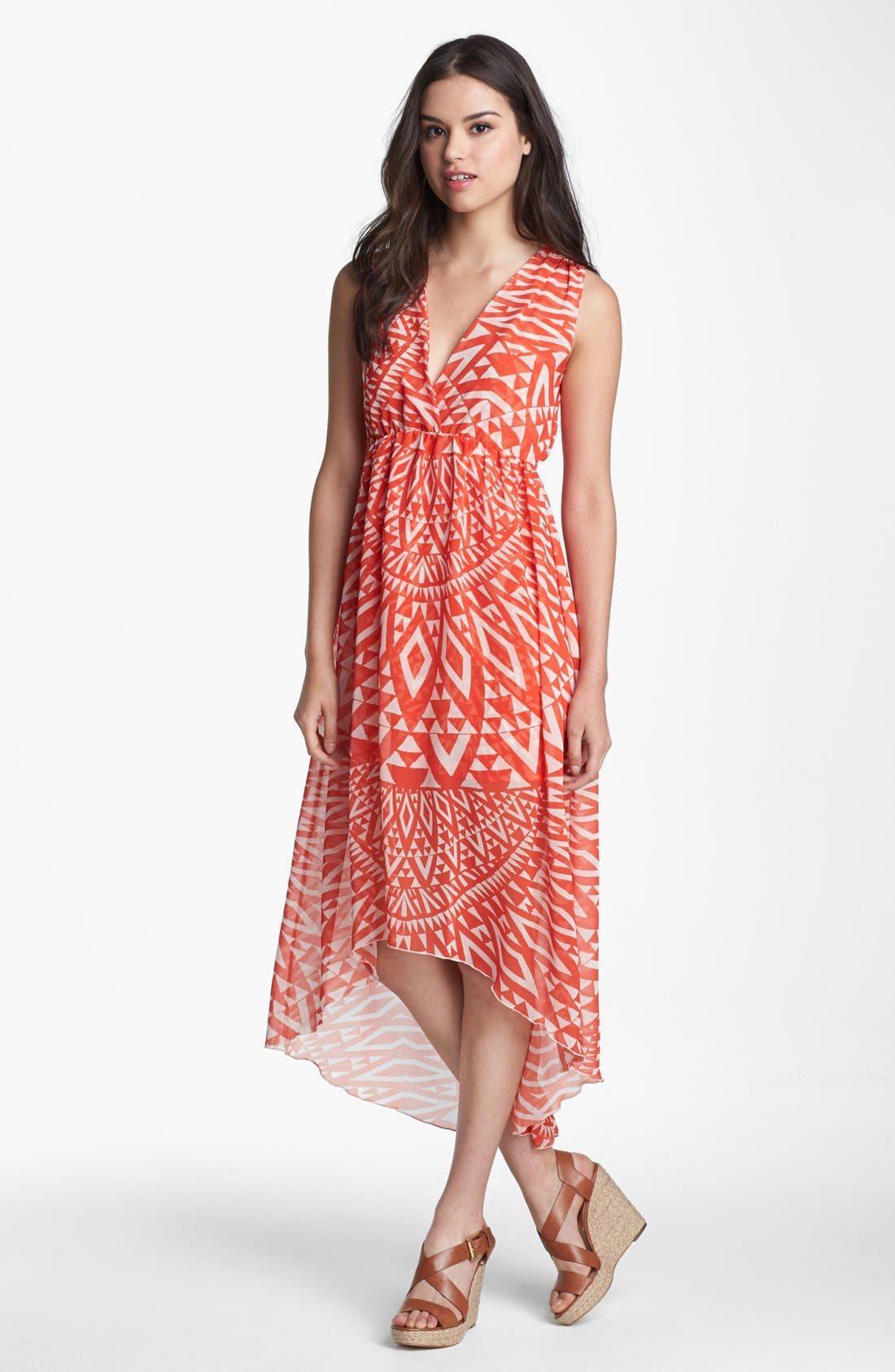 Main Image - Sweet Pea by Stacy Frati Print High/Low Chiffon Maxi Dress