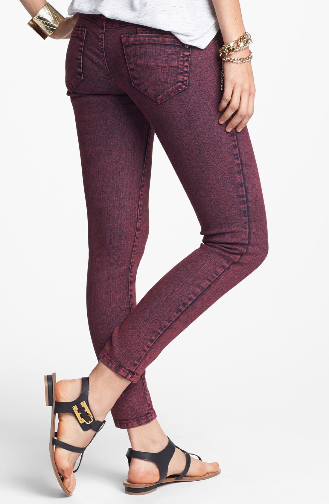 Alternate Image 2  - Jolt Overdyed Skinny Jeans (Brick) (Juniors)