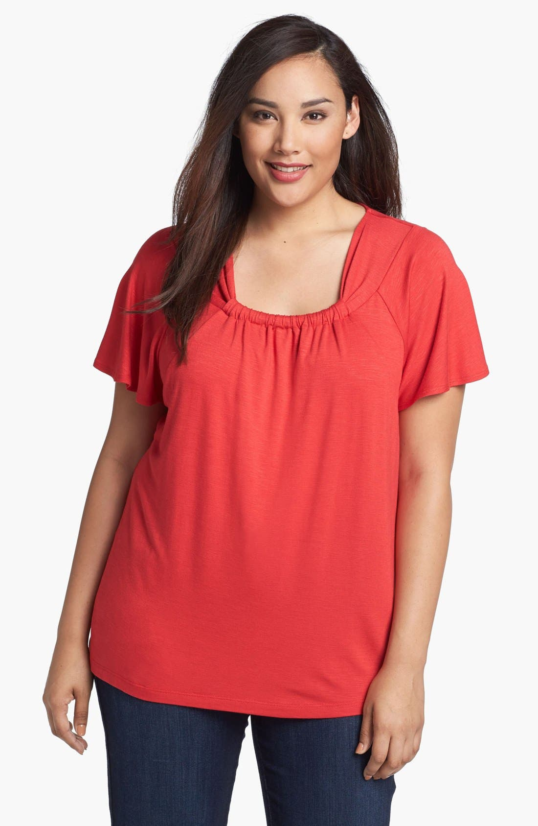 Alternate Image 1 Selected - Sejour Twist Neck Top (Plus Size)