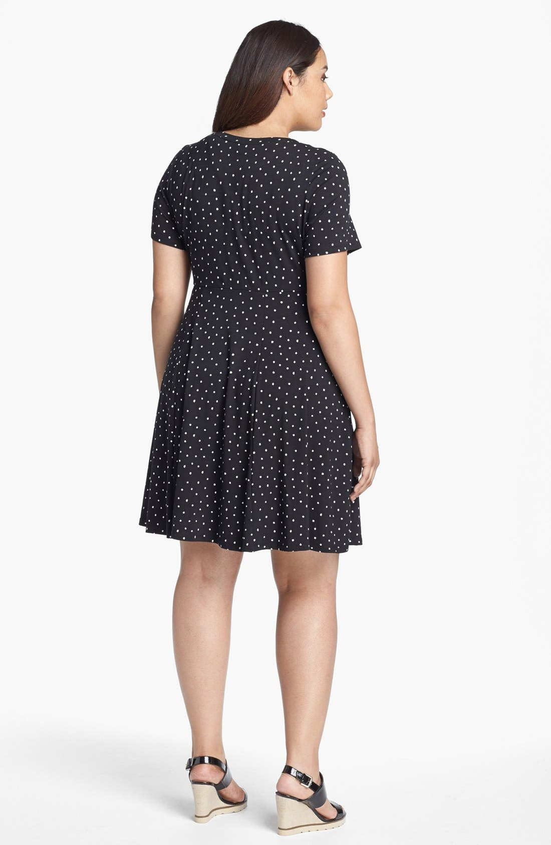 Alternate Image 2  - Evans Polka Dot Skater Dress (Plus Size)