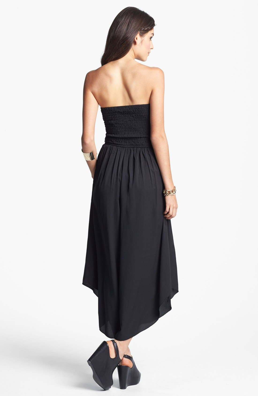 Alternate Image 2  - Band of Gypsies Strapless Palazzo Jumpsuit (Juniors) (Online Only)