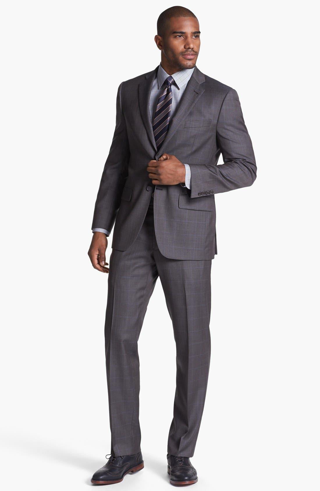 Main Image - Joseph Abboud 'Profile Hybrid' Windowpane Trim Fit Wool Suit