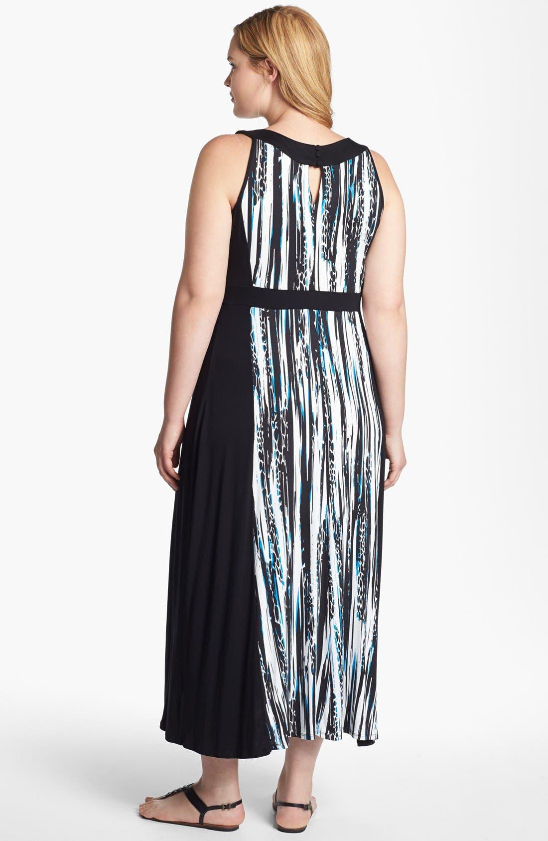 Alternate Image 2  - Evans 'Graphics Clash' Jersey Maxi Dress (Plus Size)