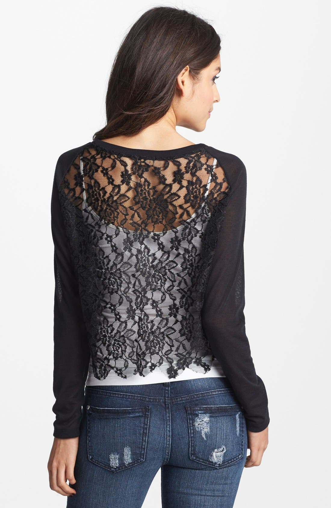 Alternate Image 2  - Ten Sixty Sherman 'Chic' Lace Long Sleeve Tee (Juniors)