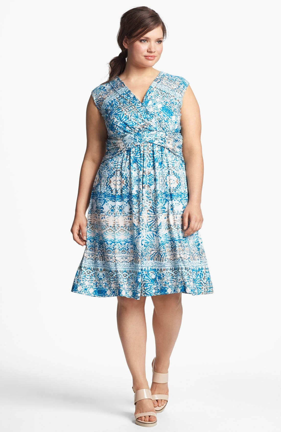 Alternate Image 1 Selected - Nic + Zoe 'Seven Seas' Print Fit & Flare Dress (Plus Size)