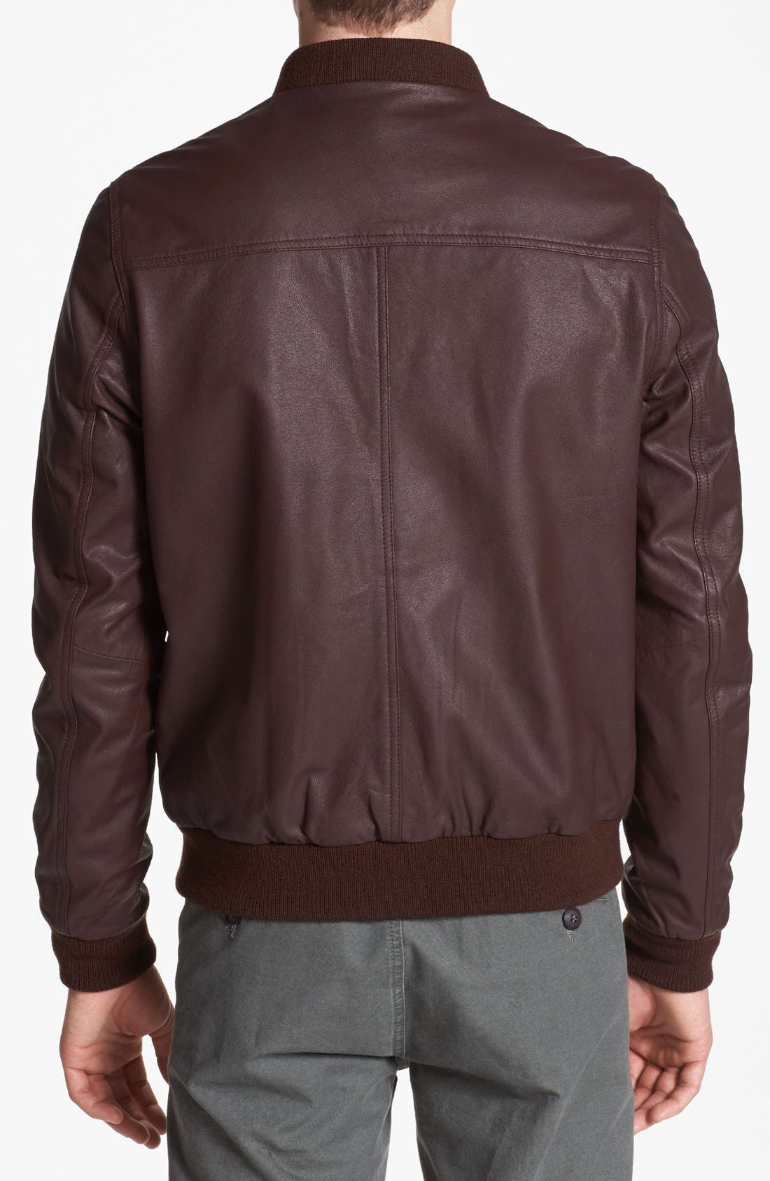 Alternate Image 2  - Topman Leather Bomber Jacket