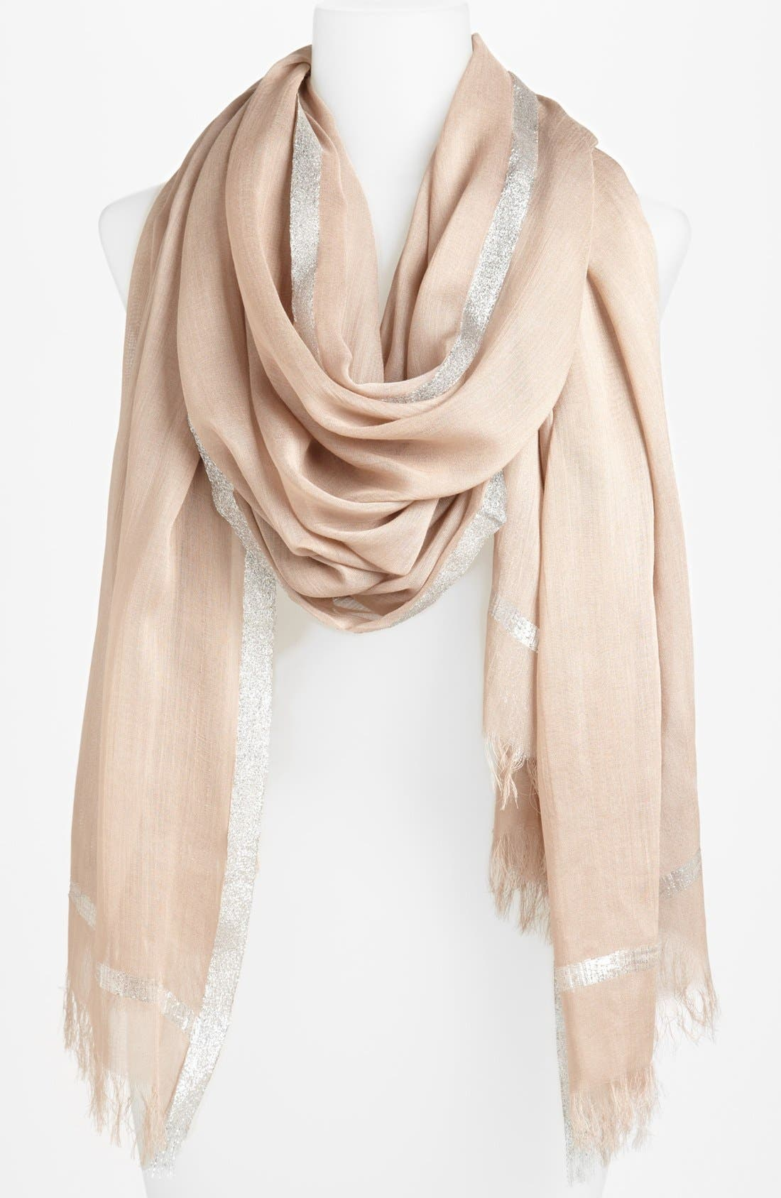 Alternate Image 1 Selected - Roffe Accessories Silver Trim Scarf (Special Purchase)
