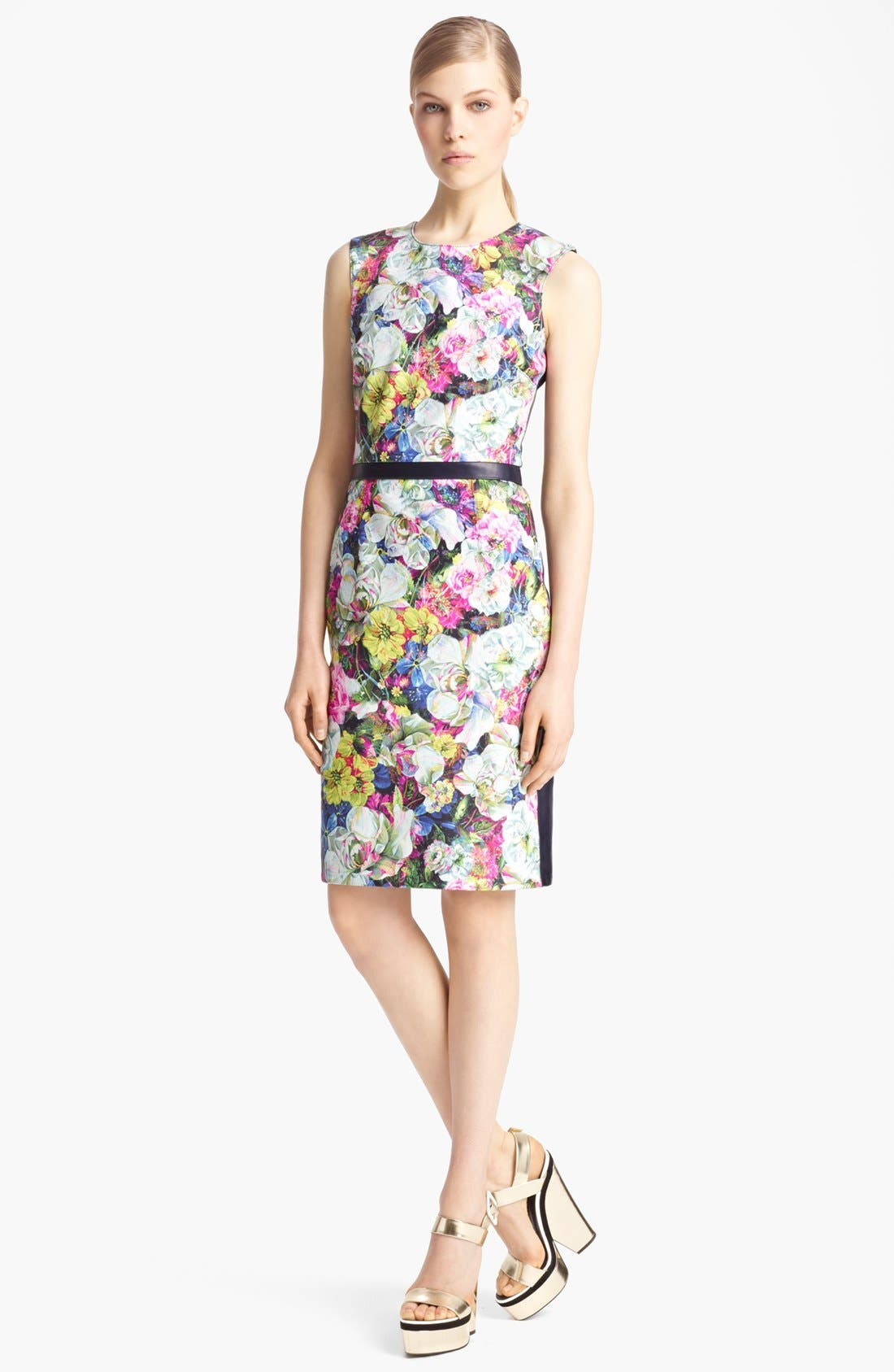 Alternate Image 1 Selected - Erdem St. Germain Rose Print Leather Dress