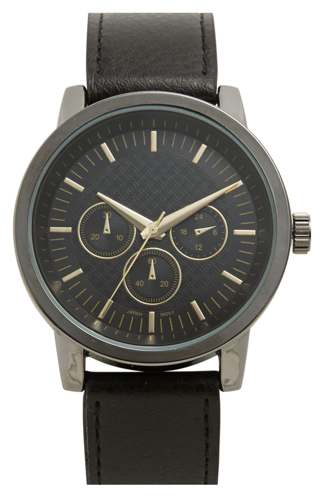 Main Image - Accutime Leather Strap Watch, 45mm