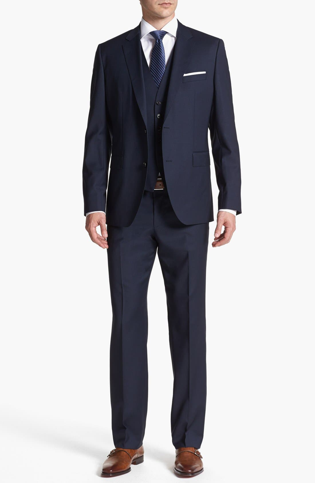 Alternate Image 1 Selected - BOSS HUGO BOSS 'James/Sharp' Trim Fit Three-Piece Suit