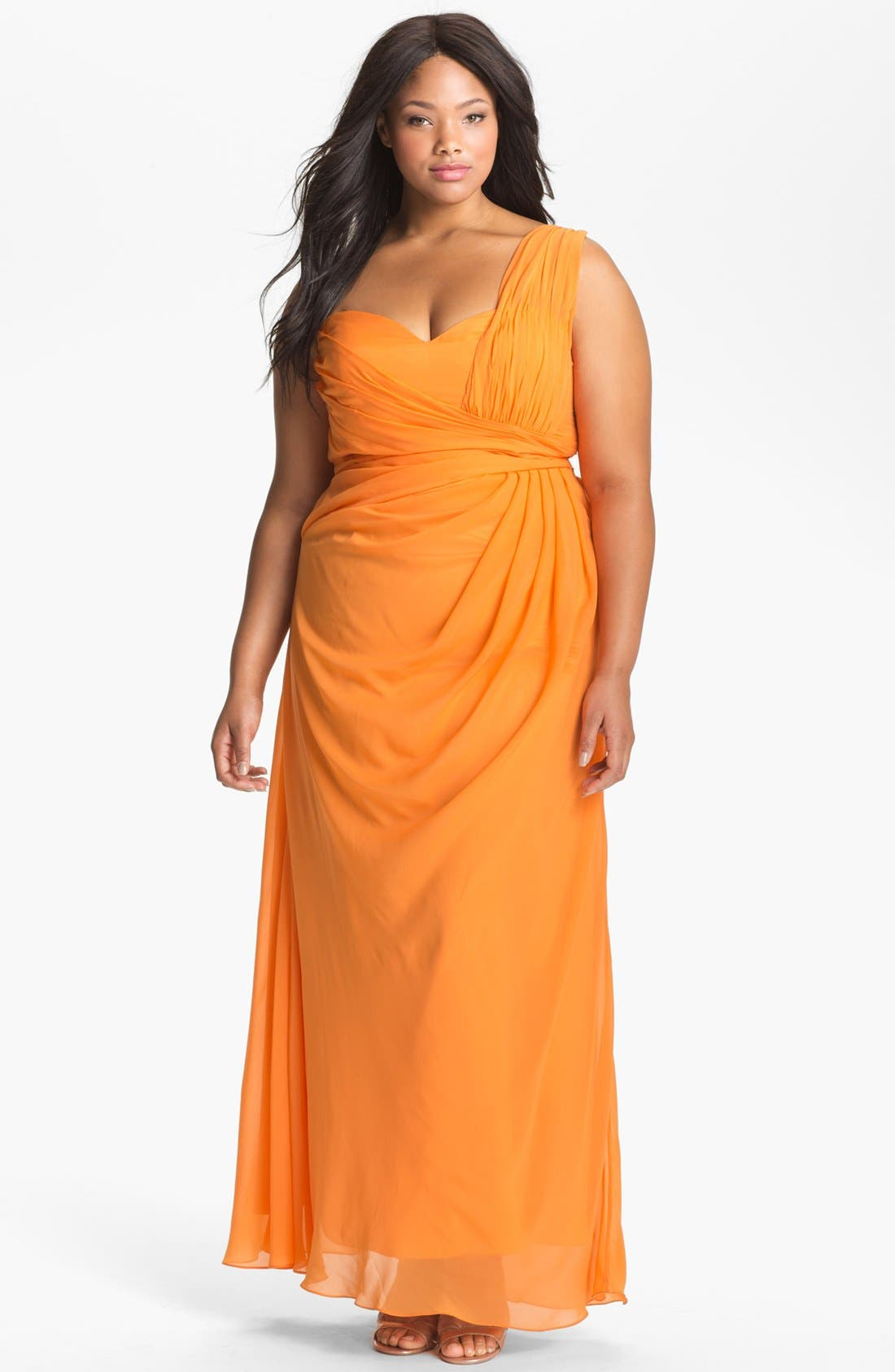 Main Image - Dalia MacPhee Gathered One Shoulder Gown (Juniors Plus)