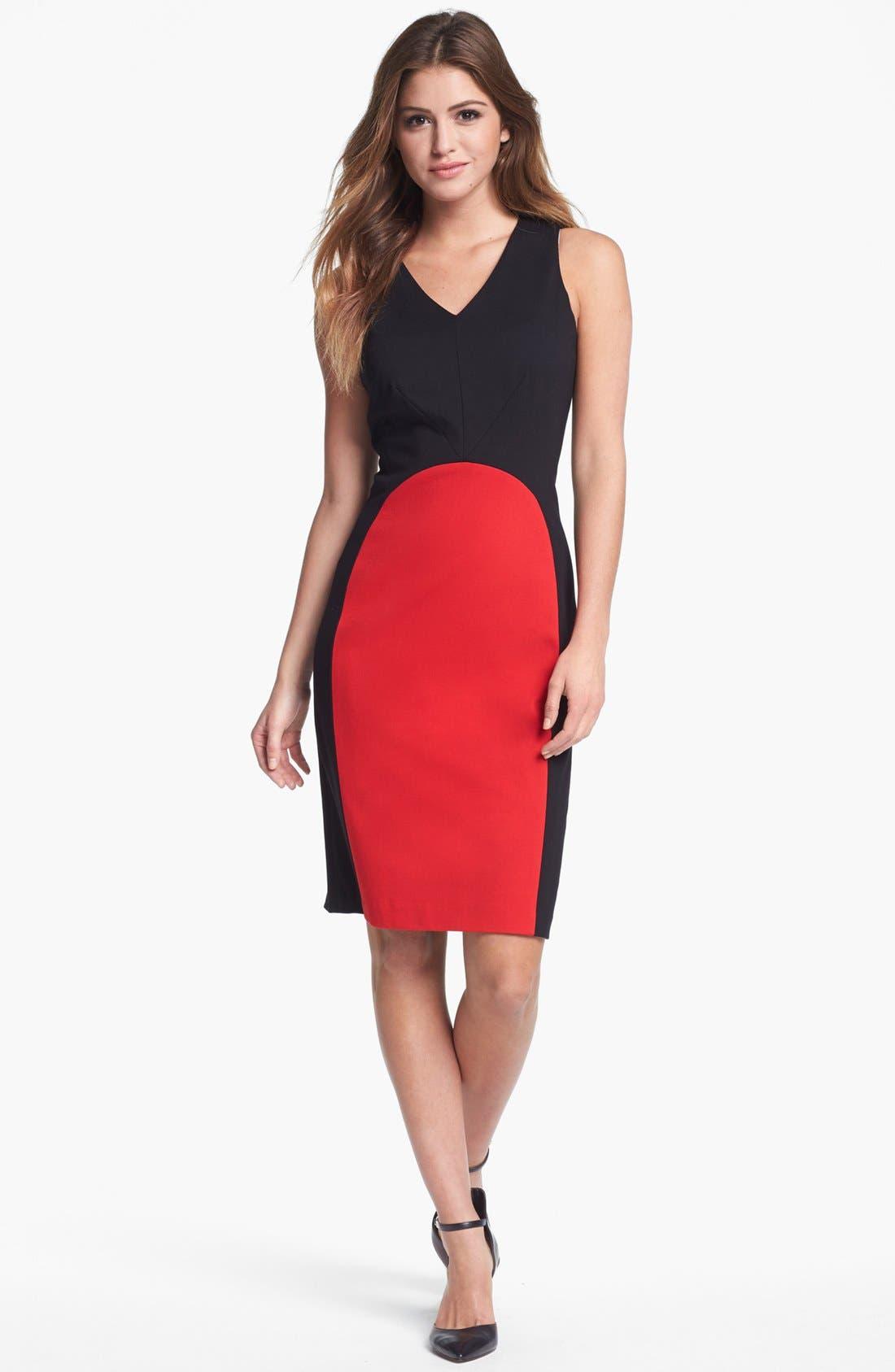 Main Image - Vince Camuto Colorblock V-Neck Sheath Dress (Regular & Petite) (Nordstrom Exclusive)