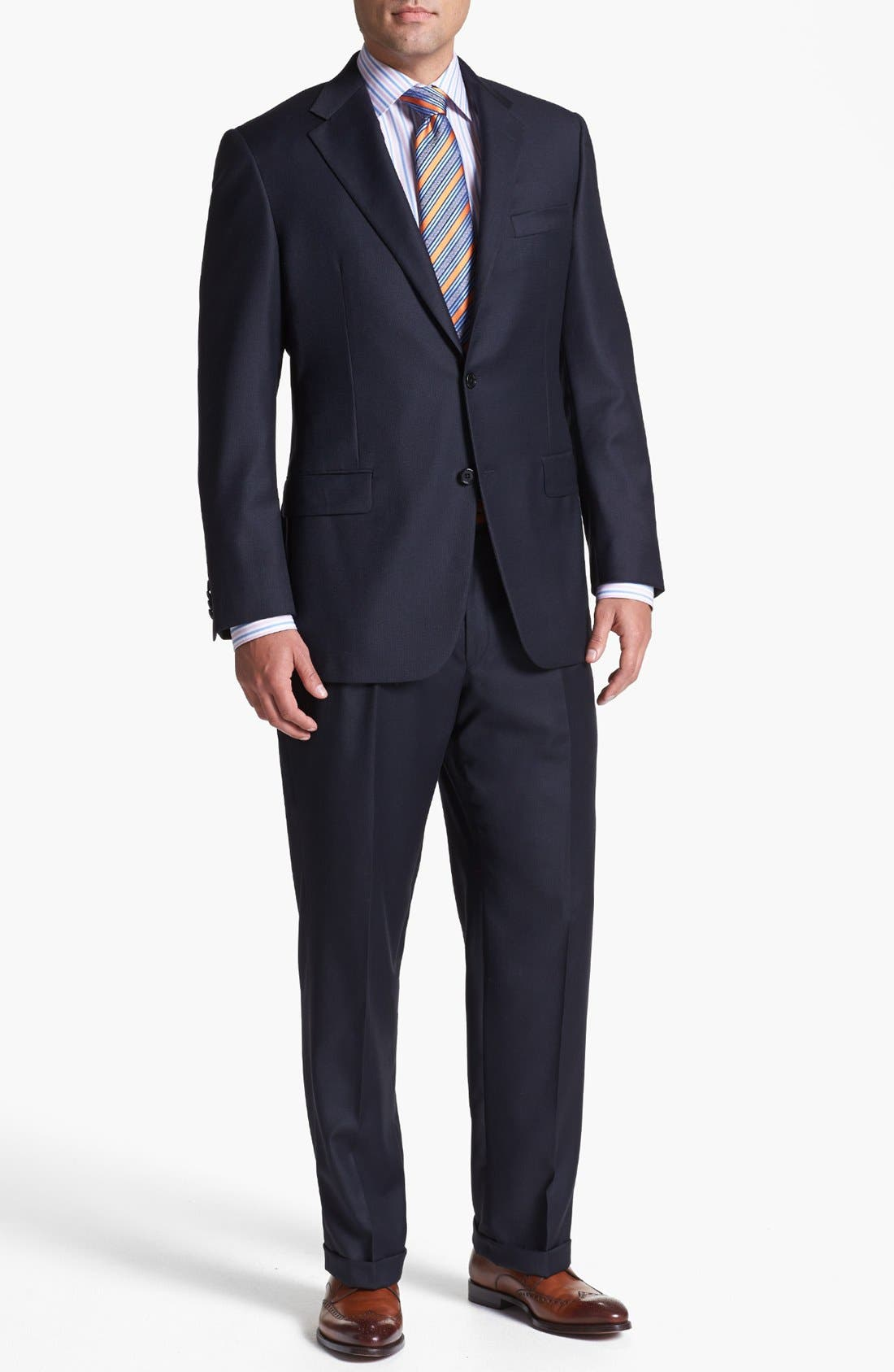 Main Image - Hickey Freeman Navy Worsted Wool Suit