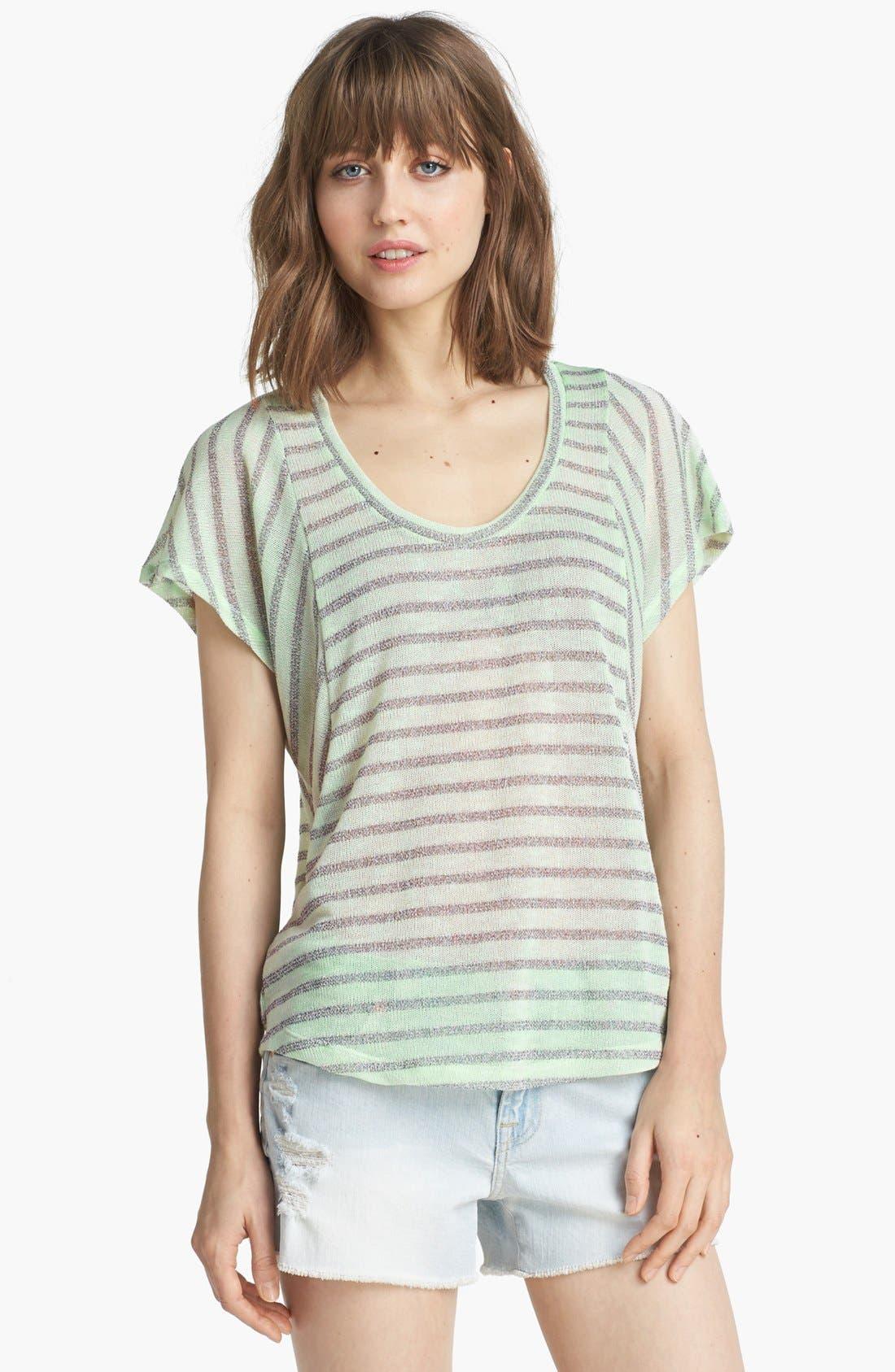 Alternate Image 1 Selected - Splendid 'Disco Stripe' Metallic Knit Tee
