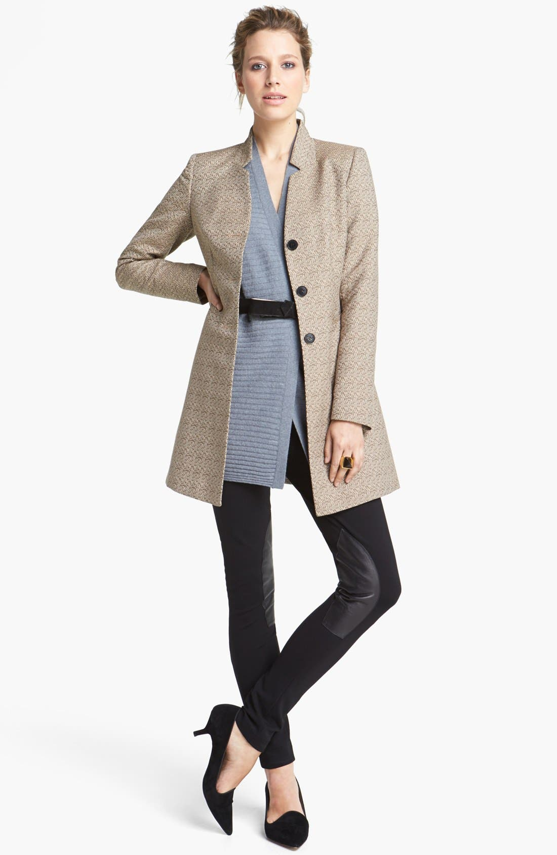 Alternate Image 2  - Lafayette 148 New York Leather Trim Punto Milano Pants