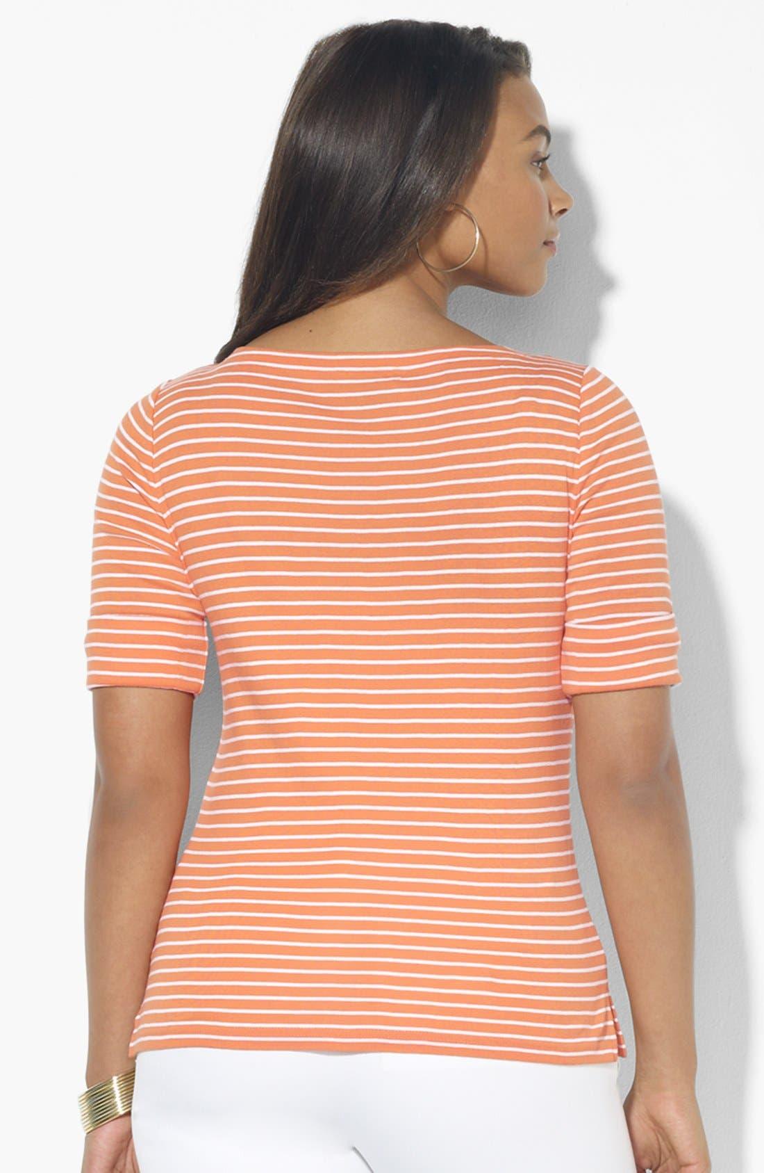 Alternate Image 2  - Lauren Ralph Lauren Stripe Boatneck Top (Plus Size)