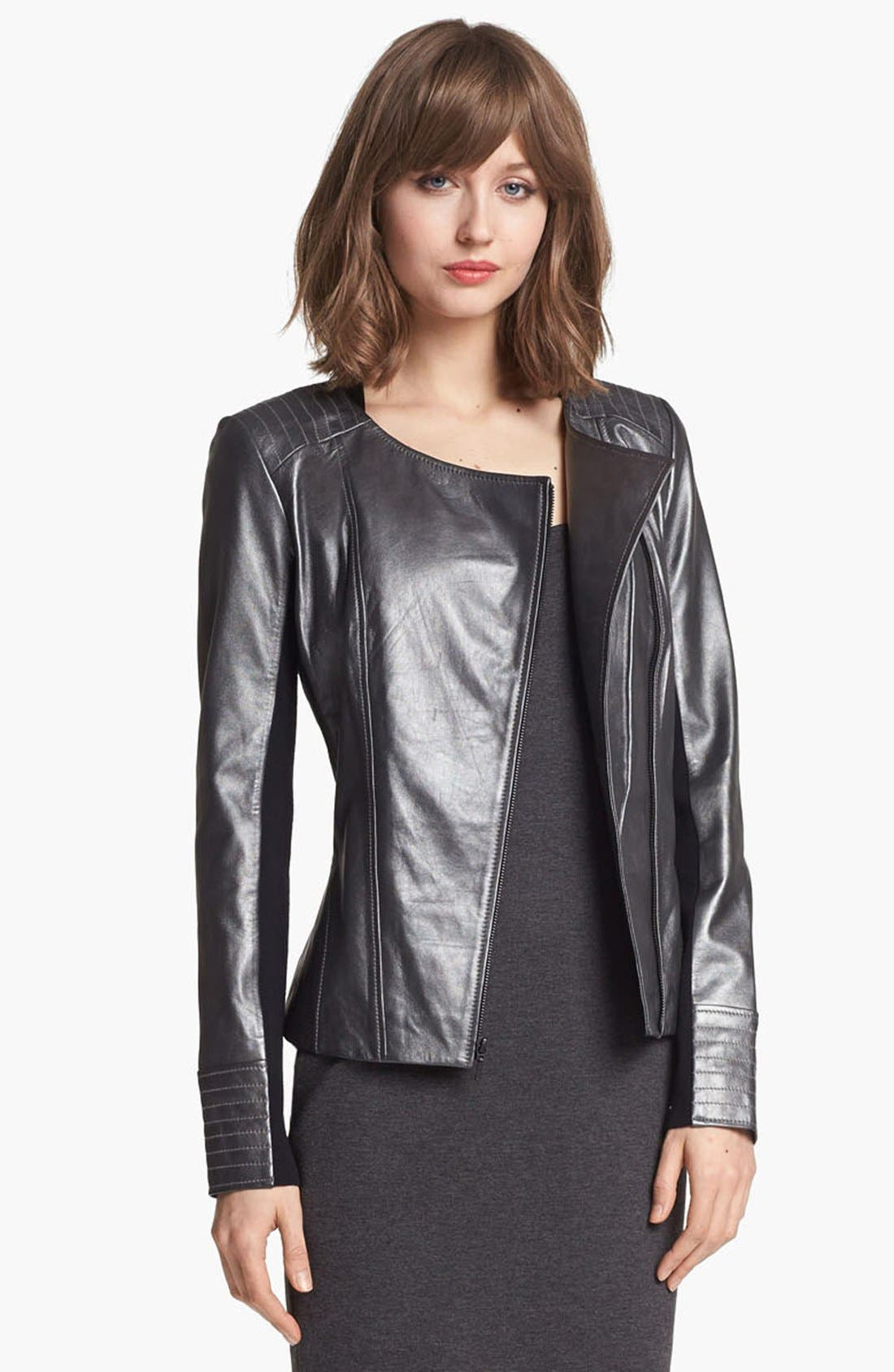 Main Image - Trouvé Metallic Leather Biker Jacket