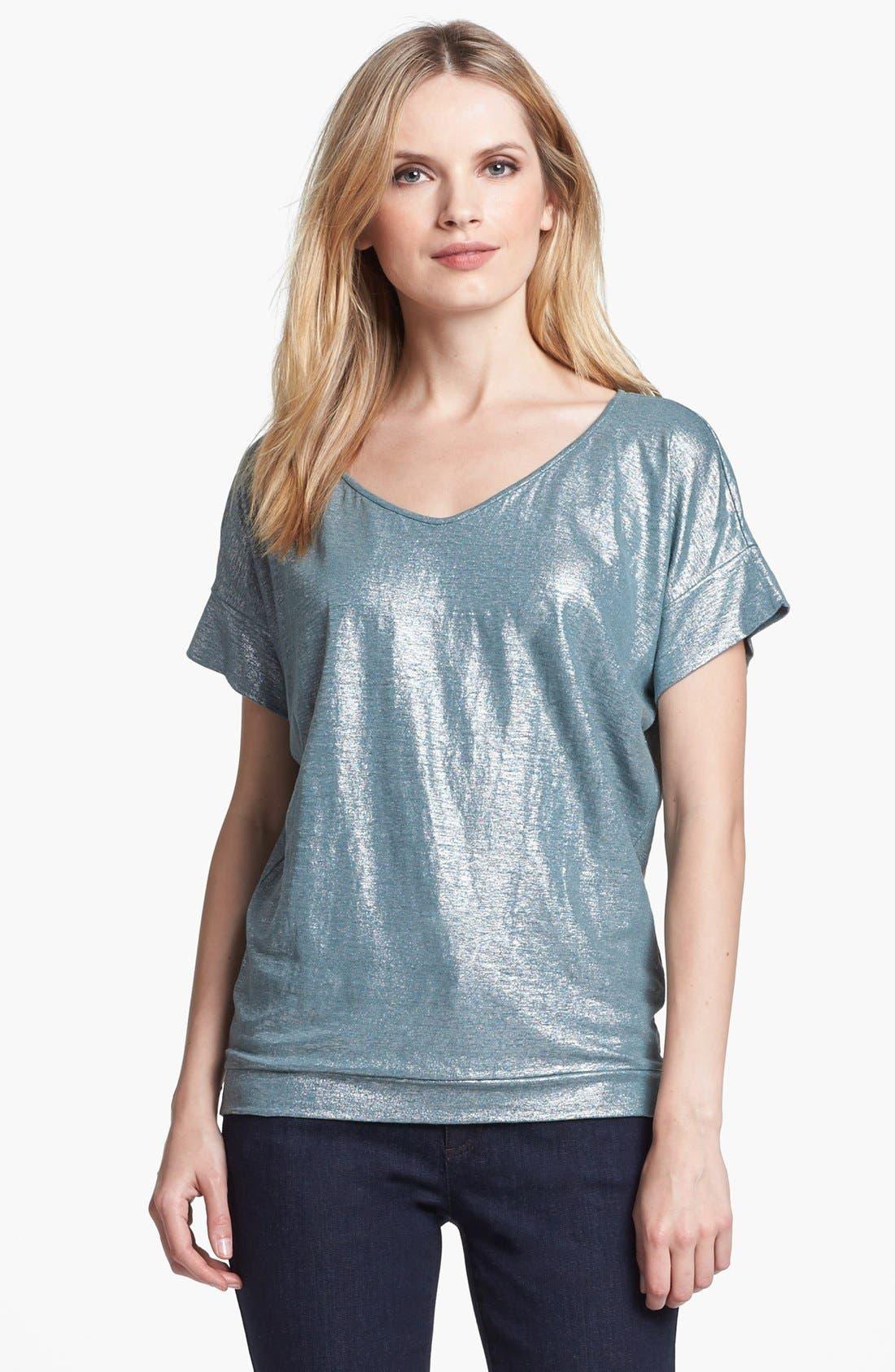 Alternate Image 1 Selected - Eileen Fisher Metallic Knit Wedge Top