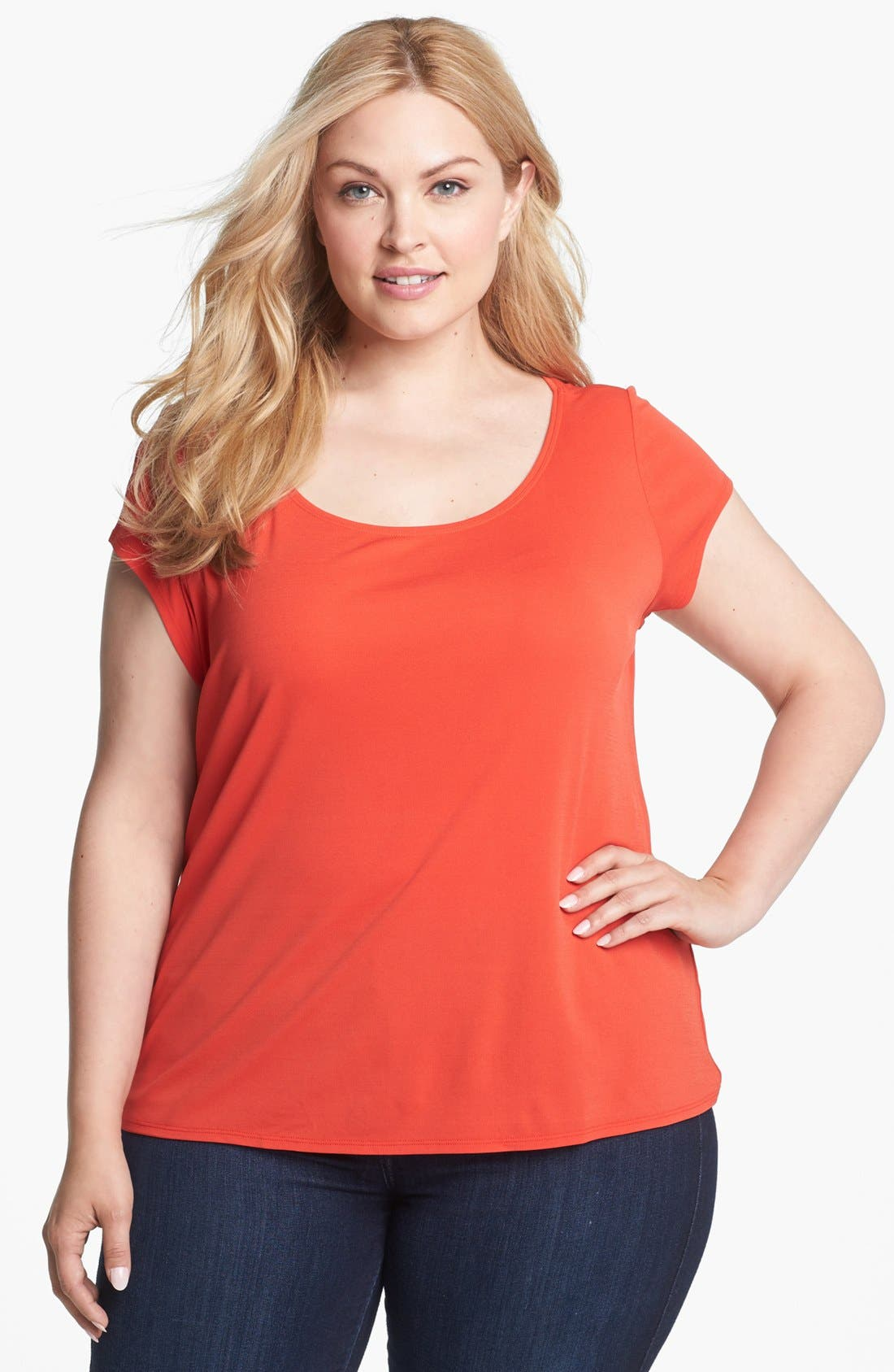 Alternate Image 1 Selected - Eileen Fisher Scoop Neck Silk Tee (Plus Size)