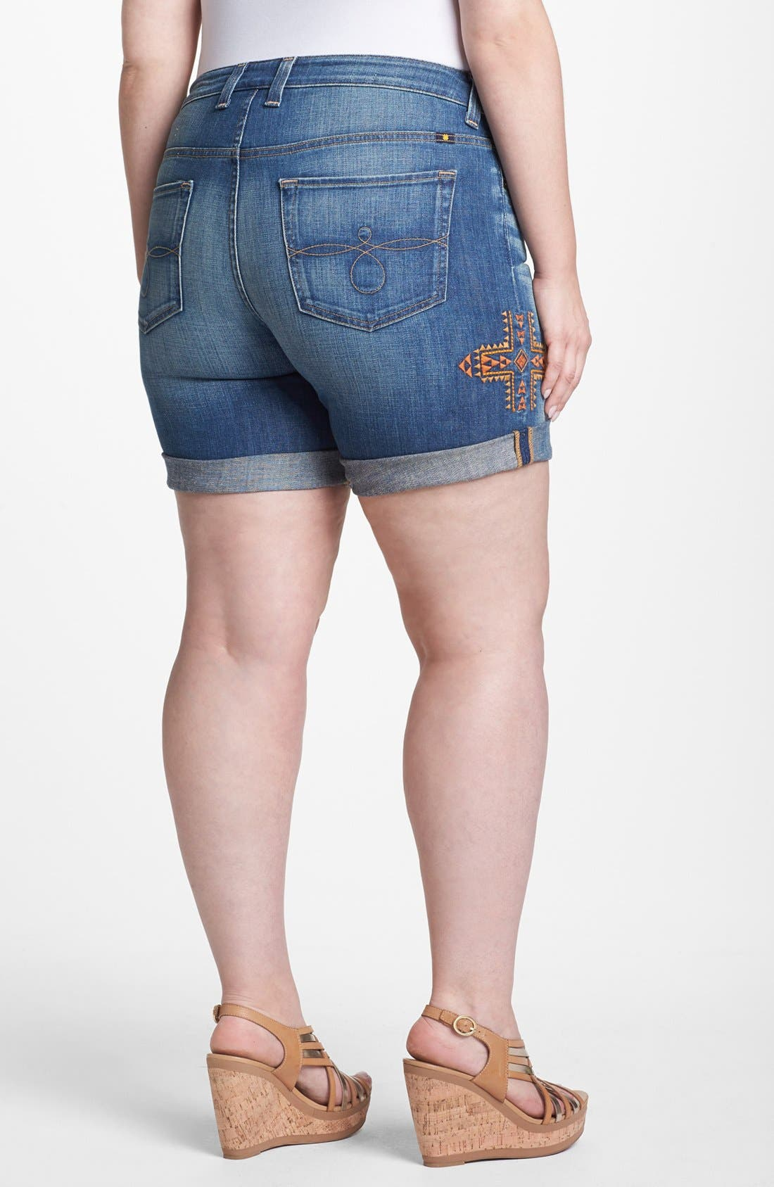 Alternate Image 2  - Lucky Brand 'Ginger' Embroidered Jean Shorts (Plus Size)