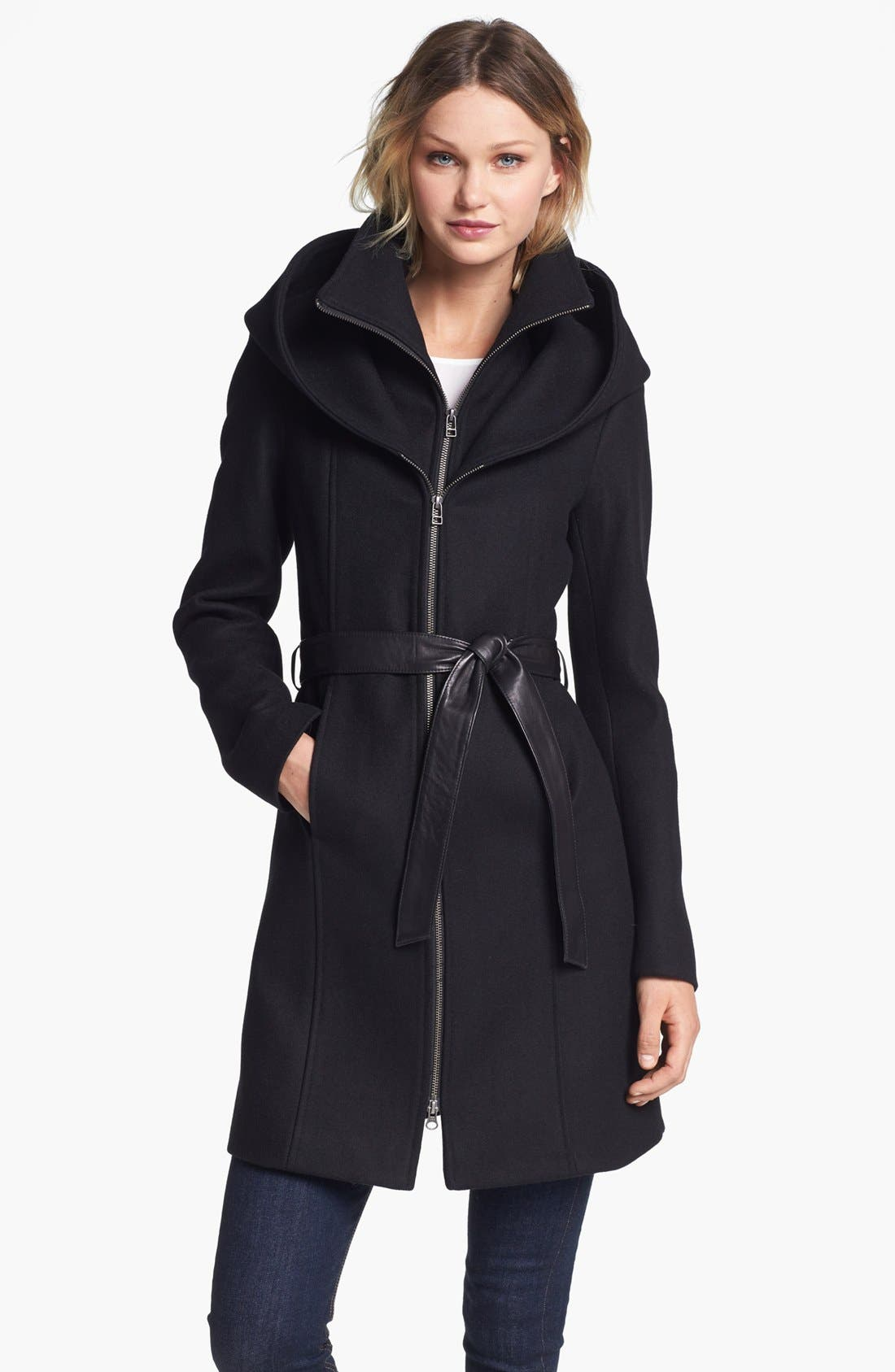 Main Image - Soia & Kyo Hooded Wool Blend Coat with Leather Belt