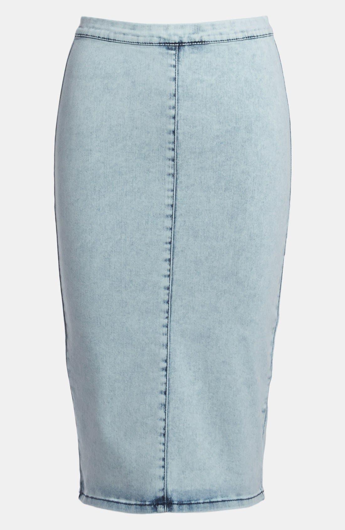 Main Image - Topshop 'Joni' Acid Wash Denim Pencil Skirt