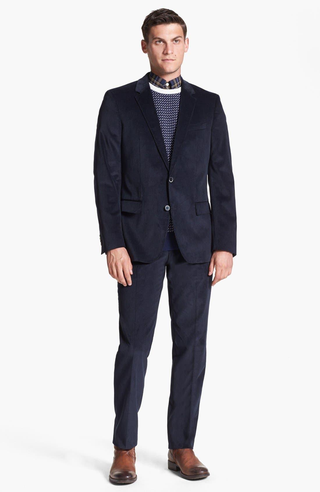 Main Image - BOSS 'Hedge/Gense' Trim Fit Corduroy Suit