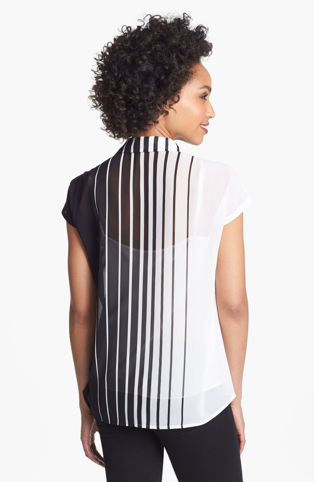 Alternate Image 2  - Vince Camuto Stripe Short Sleeve Blouse (Plus Size)