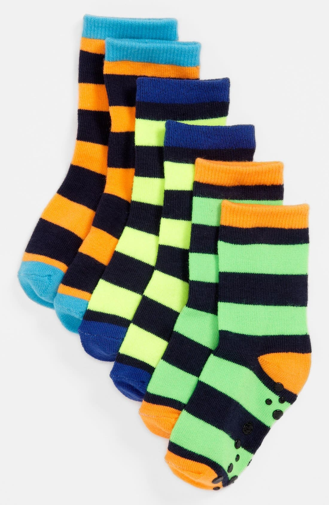Alternate Image 1 Selected - Nordstrom 'Neon Stripes' Crew Socks (3-Pack) (Toddler, Little Boys & Big Boys)