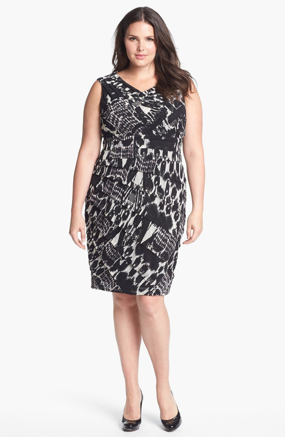 Alternate Image 1 Selected - Adrianna Papell Print Tiered Sheath Dress (Plus Size)