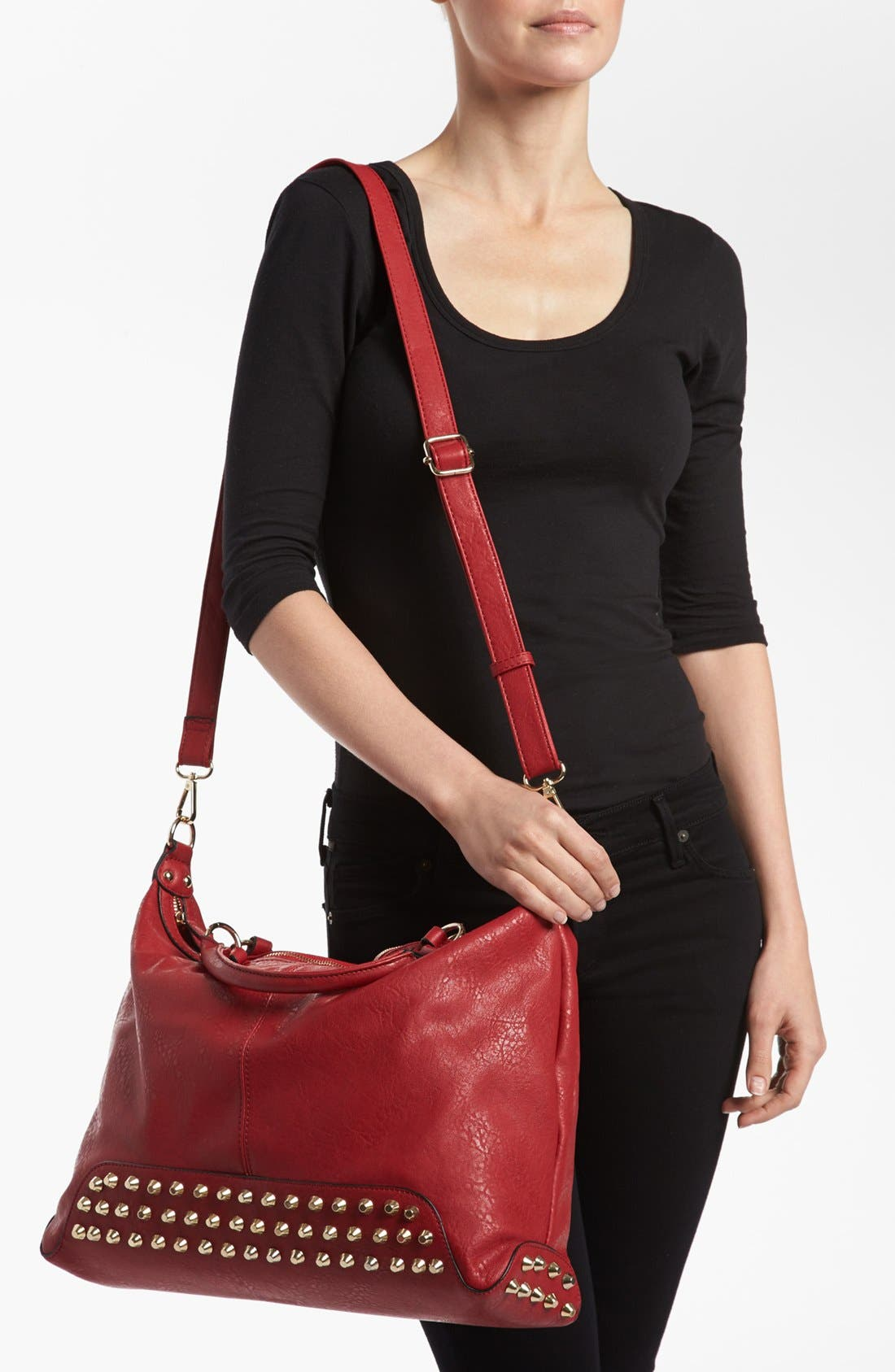 Alternate Image 2  - Emperia Studded Faux Leather Tote (Juniors) (Online Only)