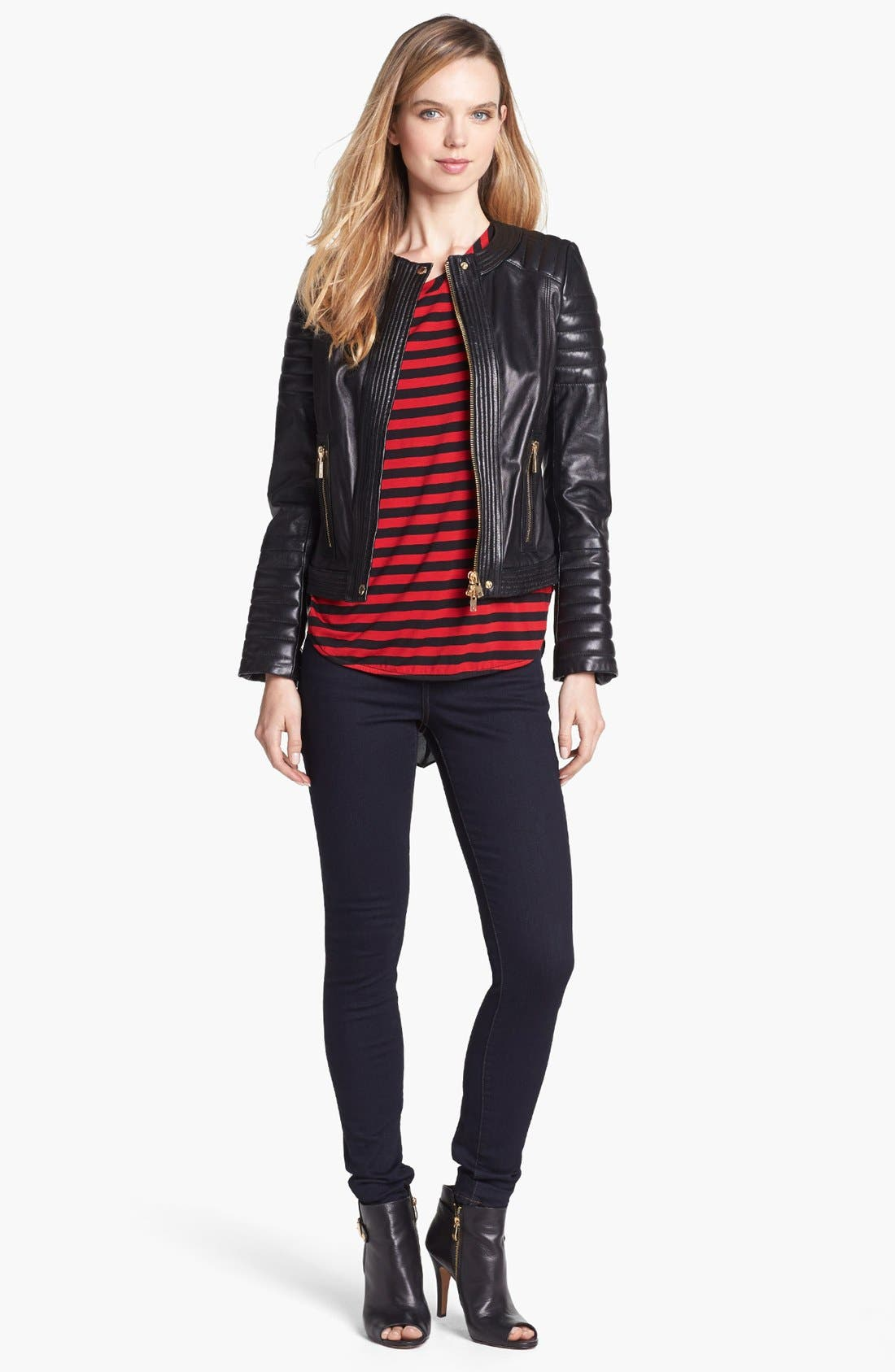 Alternate Image 1 Selected - Vince Camuto Trapunto Quilted Leather Moto Jacket
