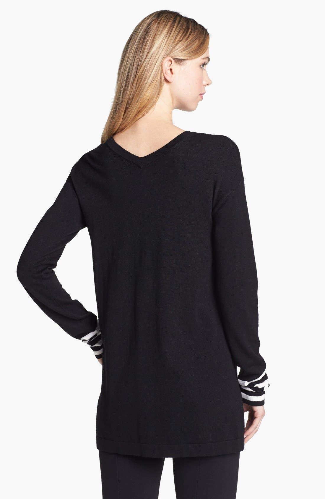 Alternate Image 2  - Vince Camuto Variegated Stripe Tunic Sweater