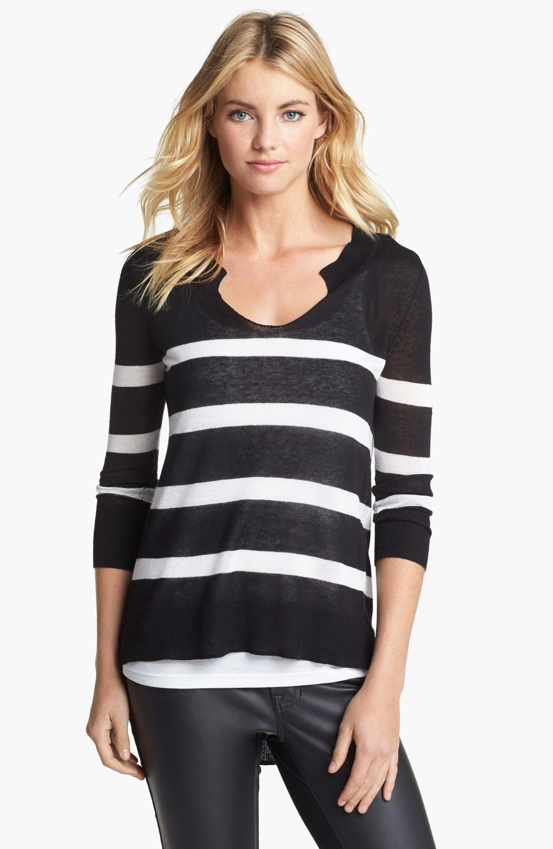 Alternate Image 1 Selected - Two by Vince Camuto Stripe Back Pleat Sweater