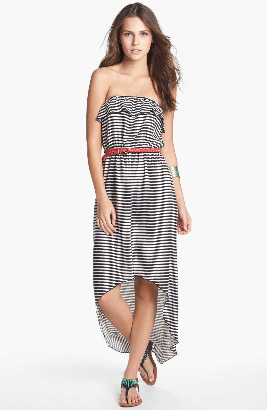 Alternate Image 1 Selected - Trixxi Stripe Ruffle High/Low Dress (Juniors) (Online Only)