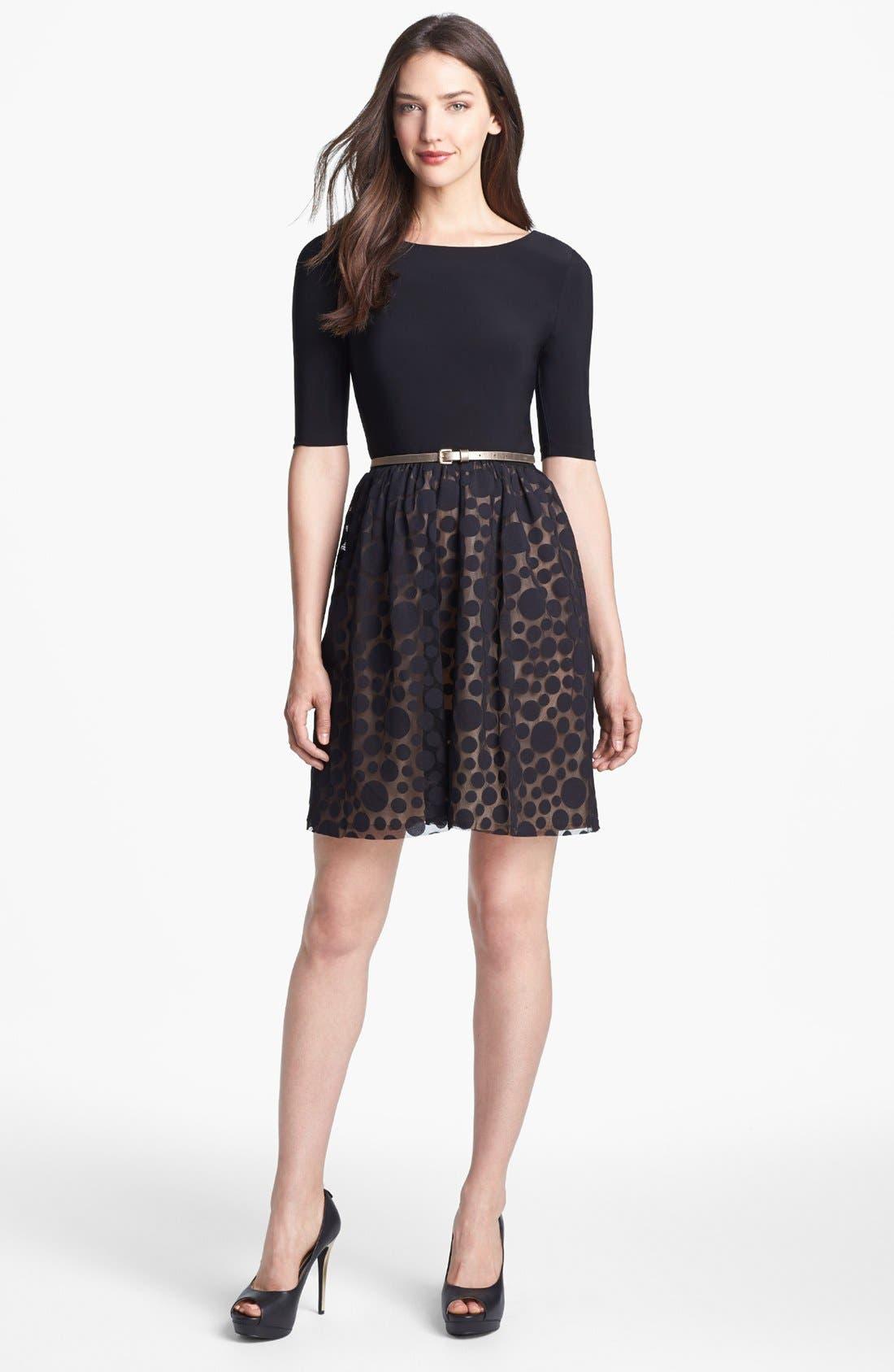 Alternate Image 1 Selected - Eliza J Mixed Media Fit & Flare Dress (Petite)