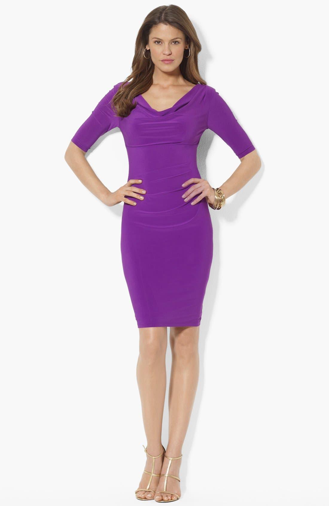 Main Image - Lauren Ralph Lauren Cowl Neck Matte Jersey Dress (Petite)