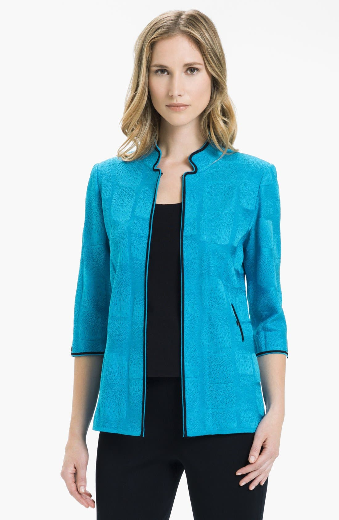 Main Image - Ming Wang Check Jacquard Knit Jacket