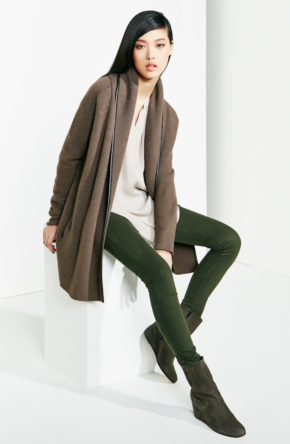 Alternate Image 6  - Vince Skinny Stretch Jeans (Dark Olive)