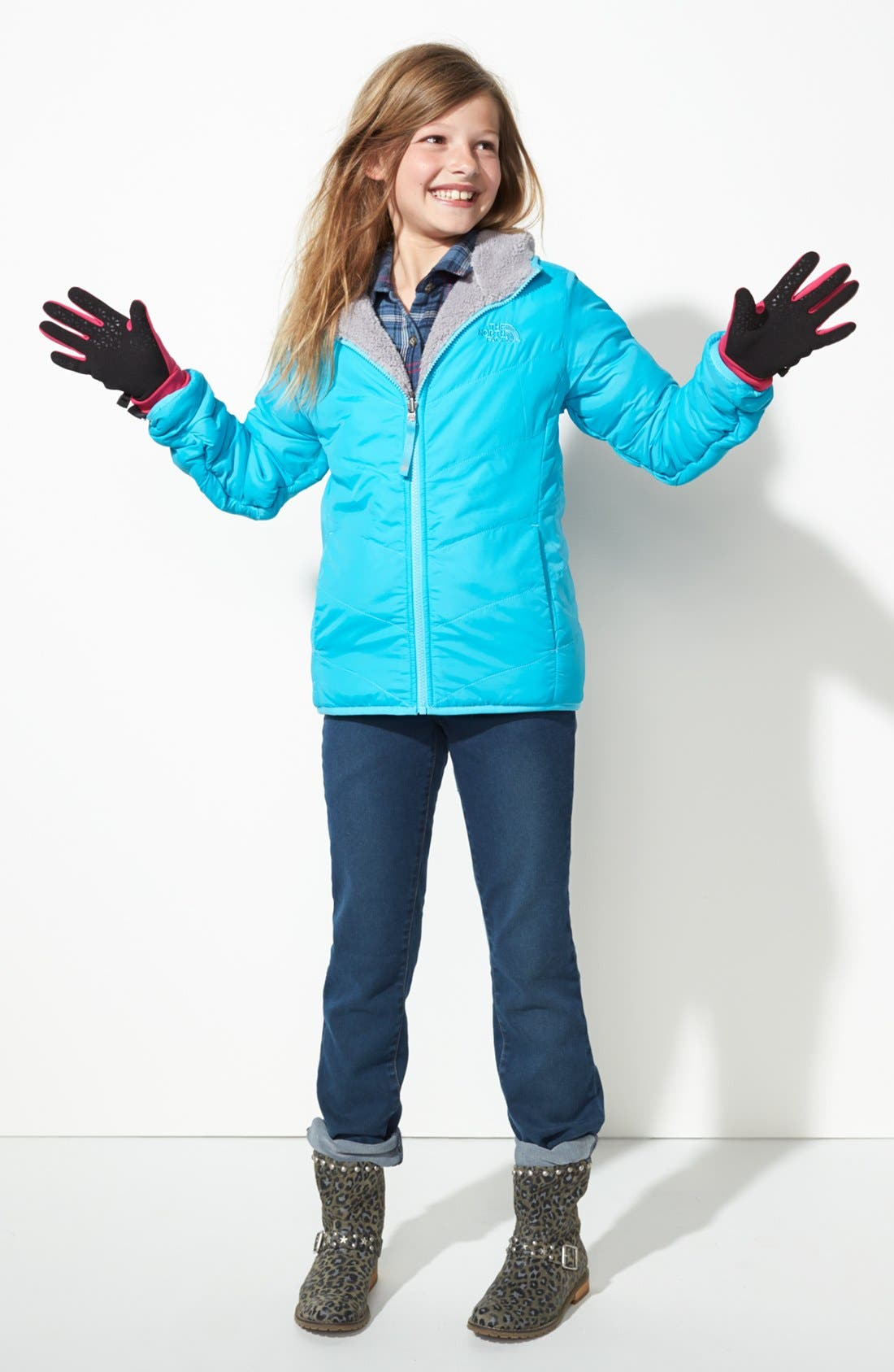 Main Image - The North Face Jacket & Tractr Jeans (Big Girls)