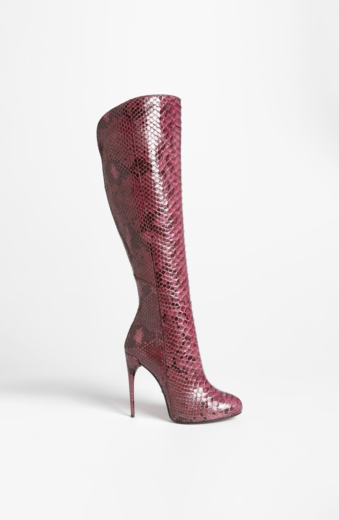 Alternate Image 4  - Gucci 'Kim' Genuine Python Cutaway Knee Boot