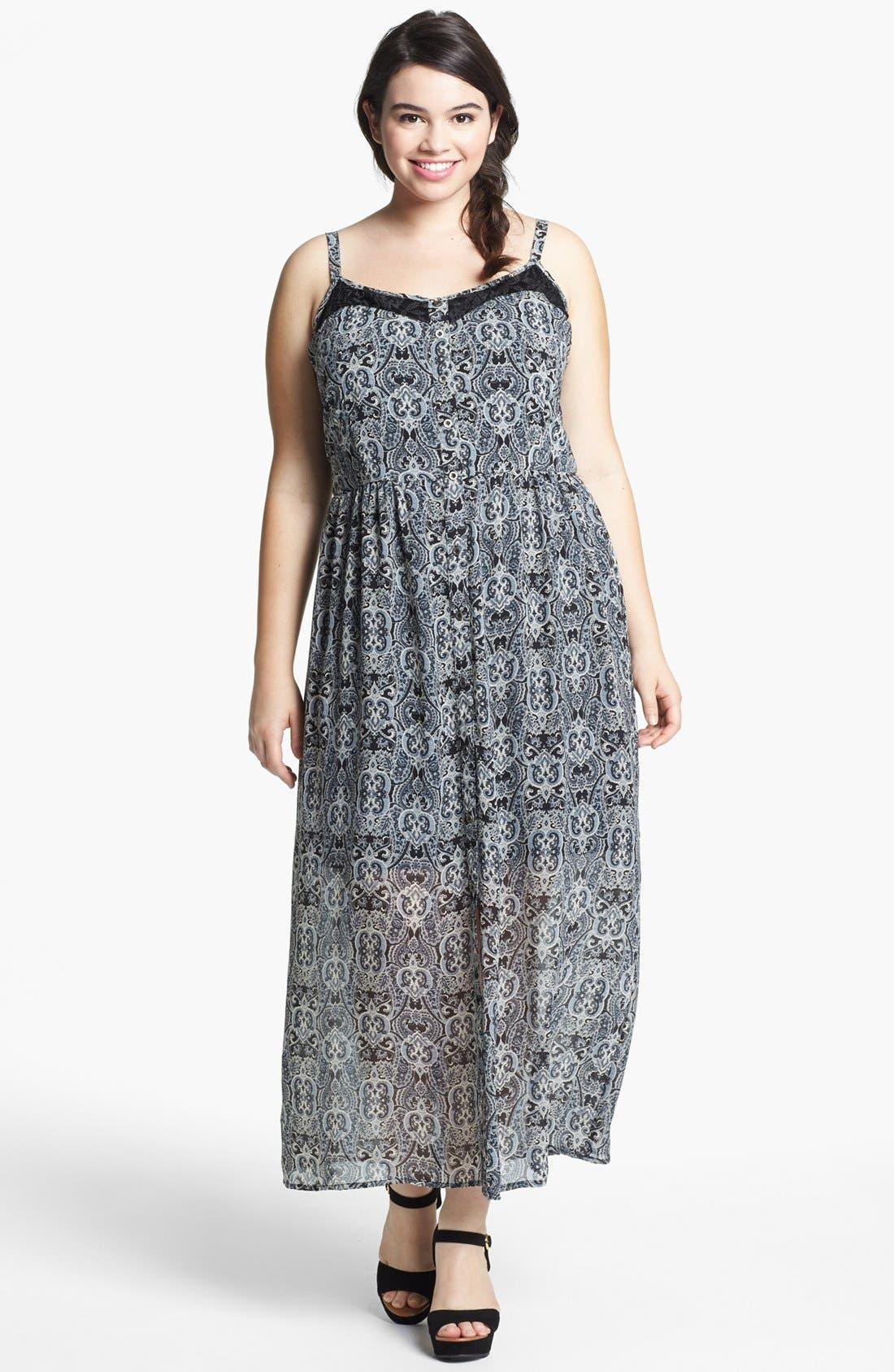 Alternate Image 1 Selected - Mimi Chica Lace Inset Maxi Dress (Juniors Plus)