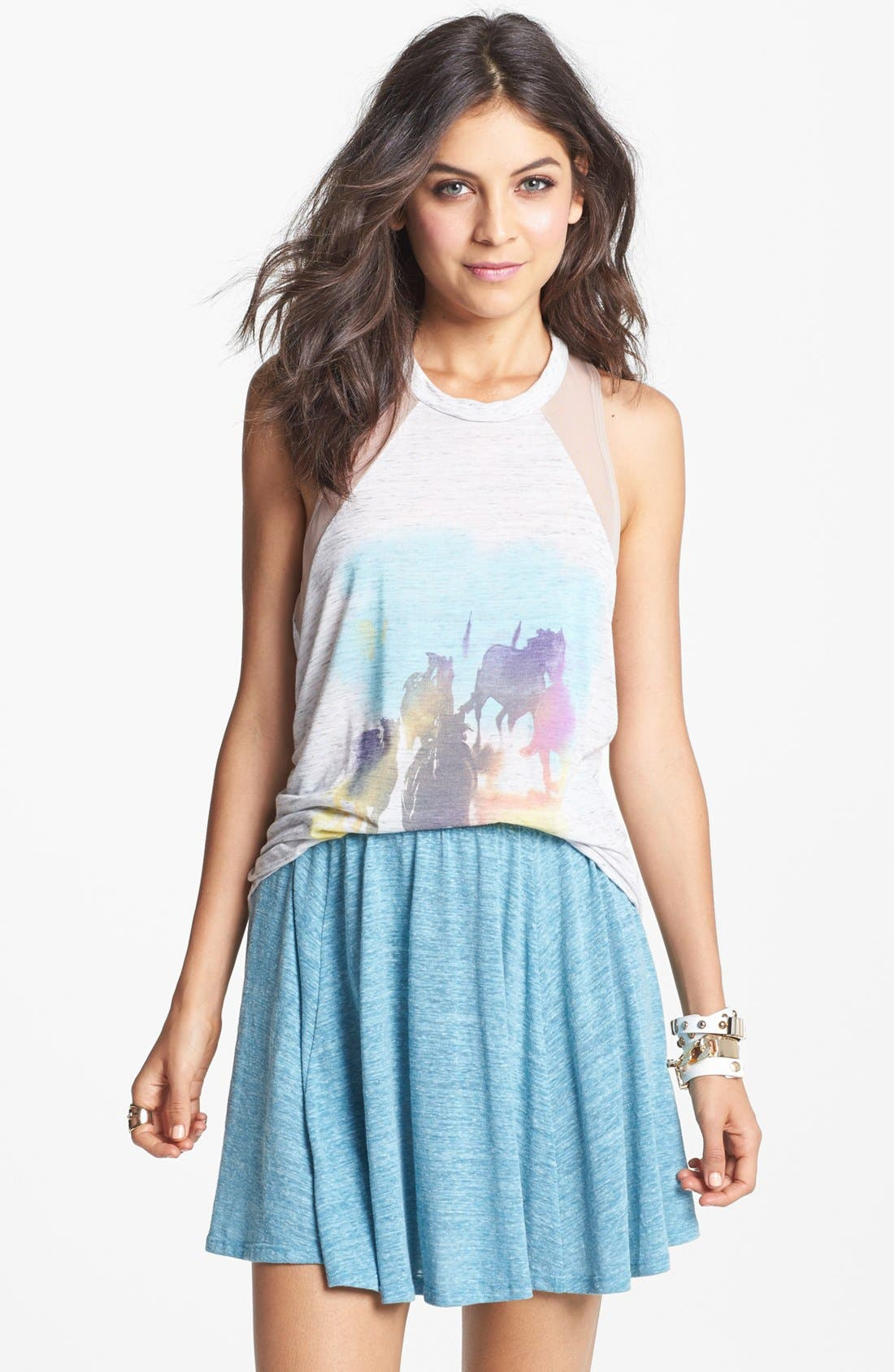 Main Image - h.i.p. Heathered Skater Skirt (Juniors)