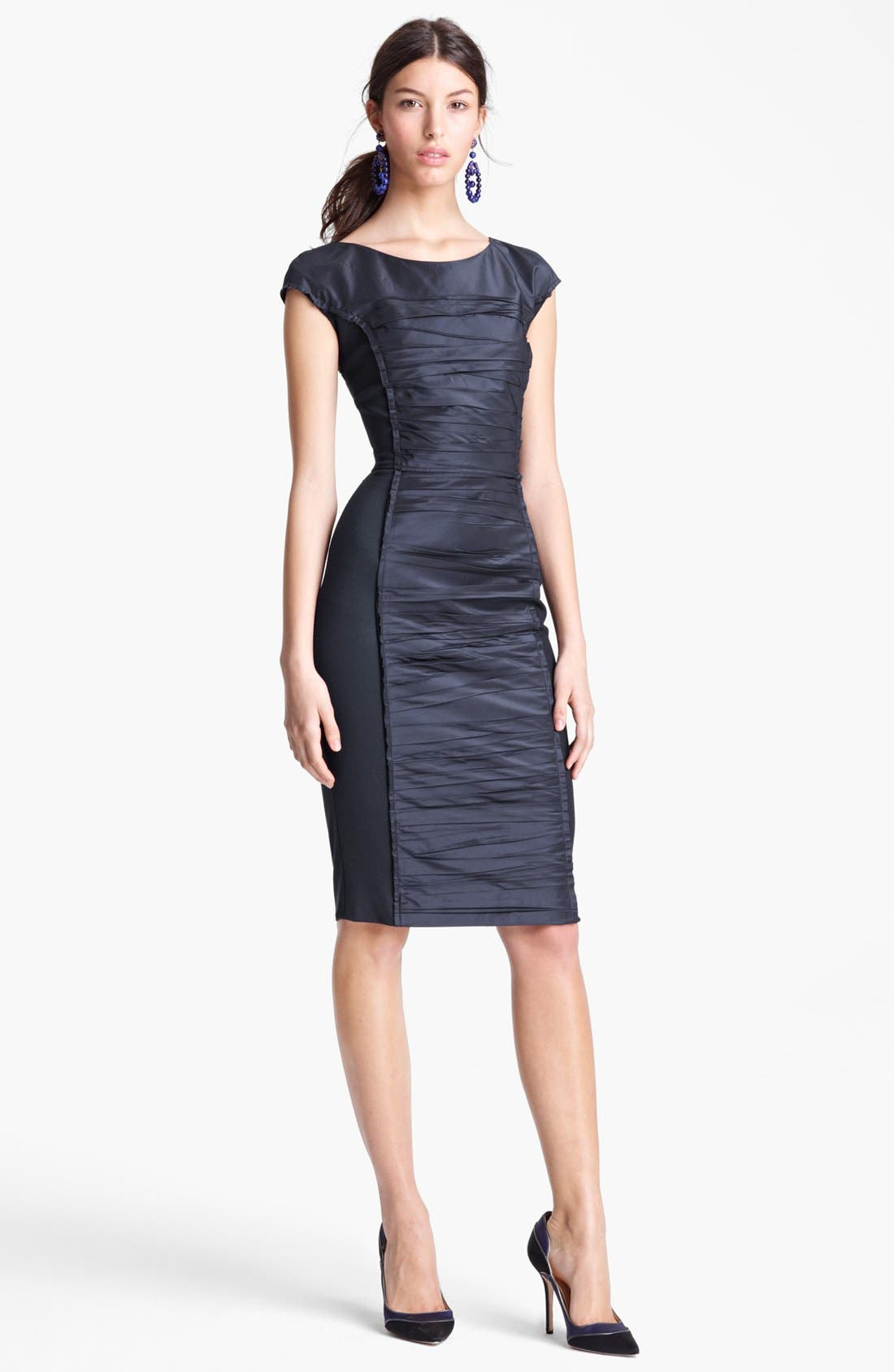 Main Image - Oscar de la Renta Ruched Front Jersey Dress