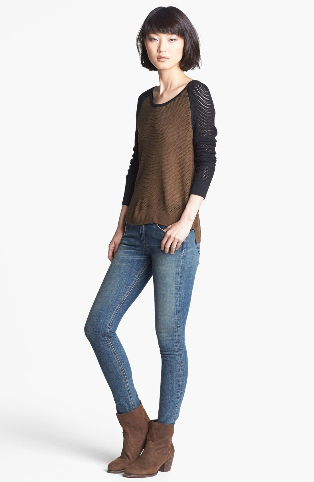 Main Image - rag & bone/JEAN 'Genevieve' Colorblock Mesh Pullover