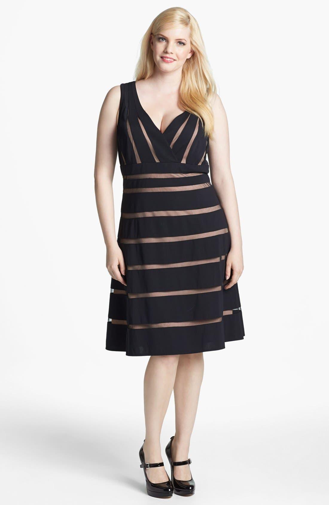 Main Image - Xscape Mesh Stripe Fit & Flare Dress (Plus Size)