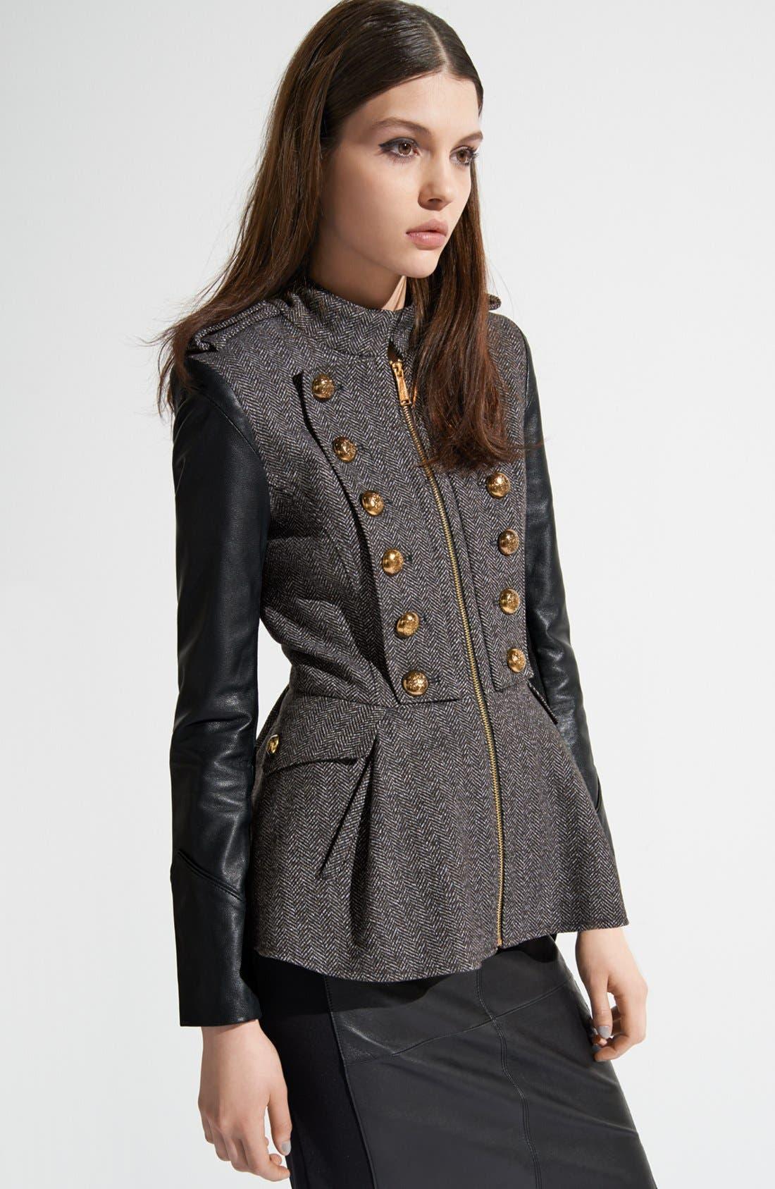 Alternate Image 5  - BCBGeneration Tweed & Faux Leather Military Jacket