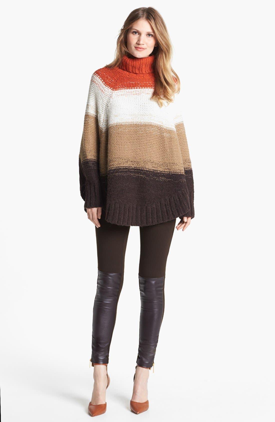 Alternate Image 2  - MICHAEL Michael Kors Stripe Turtleneck Poncho Sweater